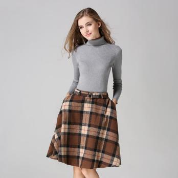 British-Red-Pleated-Plaid-Woolen-Skirt-Fashion-2015-Autumn-Winter-Casual-High-Waisted-Skirts-Womens-Falda